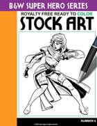 B&W Super Hero Stock Art #4