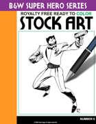 B&W Super Hero Stock Art #5