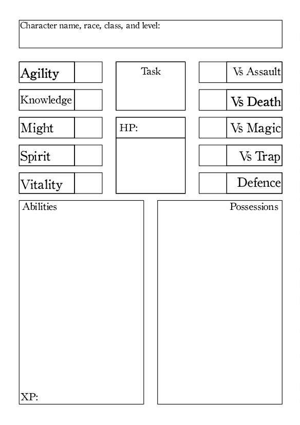 Light Osr Character Sheet Printer Friendly Ordoalea