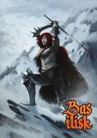 Female warrior in snow scene- Full page illustration