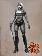 Scifi female melee fighter character.