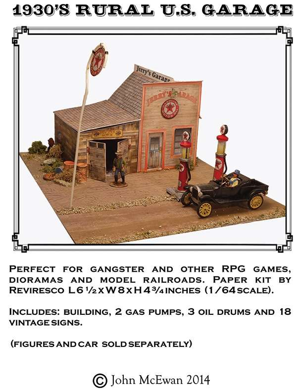 Rural 1930's Gas Station 1/64th for 28mm figures