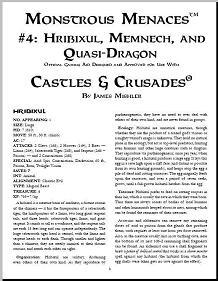 Castles & Crusades: Monstrous Menaces #4: Hribixul, Memnech, and Quasi-Dragon