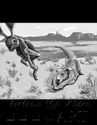THC Stock Art: Golden Retriever & Hare in Desert (black & white)