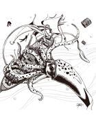 THC Stock Art: Giant Squid (b/w)