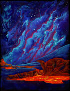 THC Stock Art: BACKGROUND - Nebula over Lava Spout