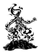 THC Stock Art: Fire Elemental (BW png)