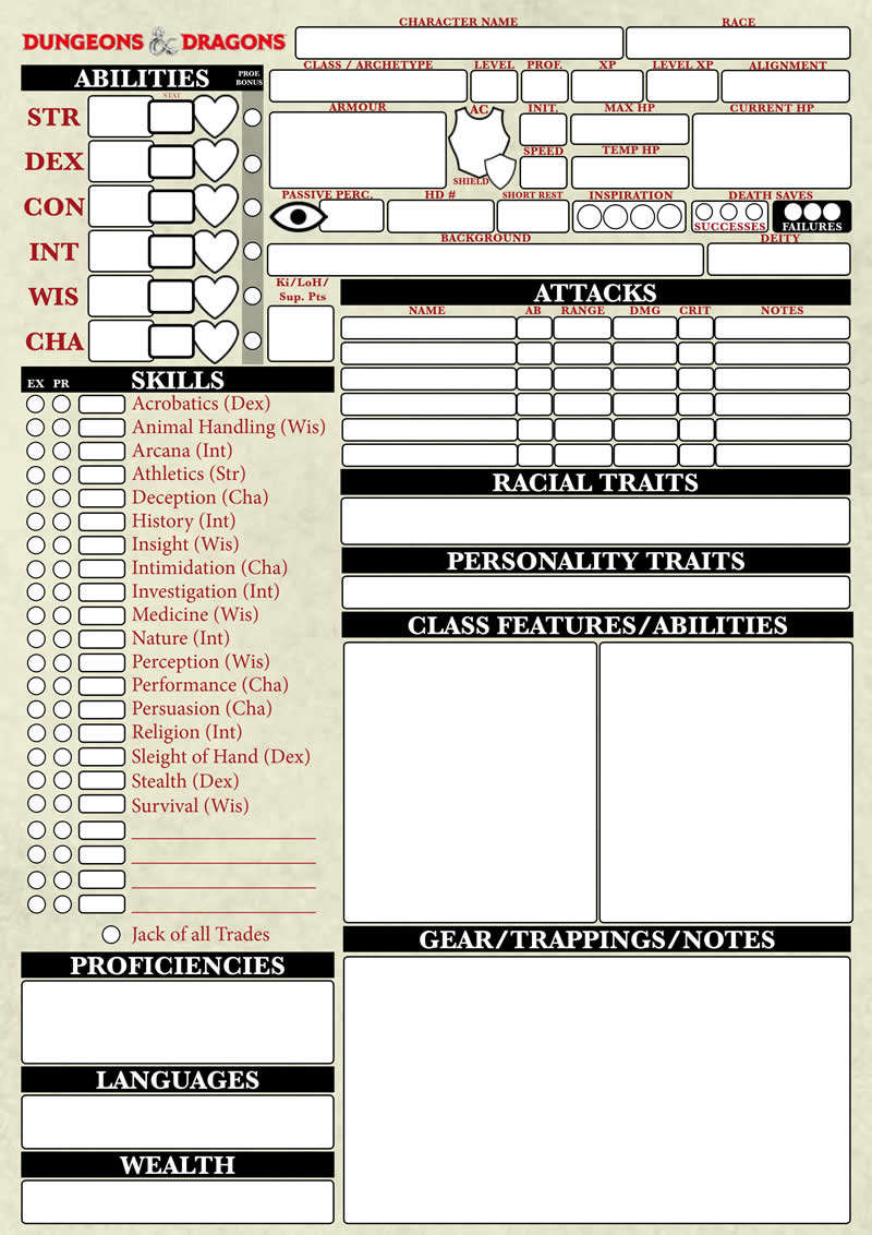 Dungeons & Dragons 5th Edition Character Sheet - Santy's