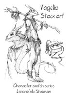 Character stock sketch series: Lizardfolk Shaman