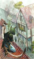 Vagelio Kaliva - Stock Watercolour Illustration - Roof stalking