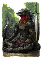 Vagelio Kaliva - Stock character watercolour Illustration - Meditating Lizardfolk