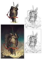 Character stock sketch and color series: Tortle barbarian