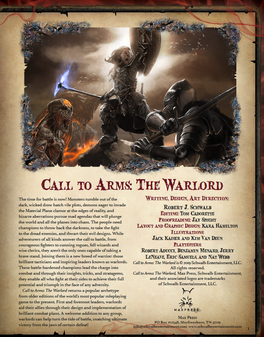 Call to Arms: The Warlord - Schwalb Entertainment | MAXPRESS