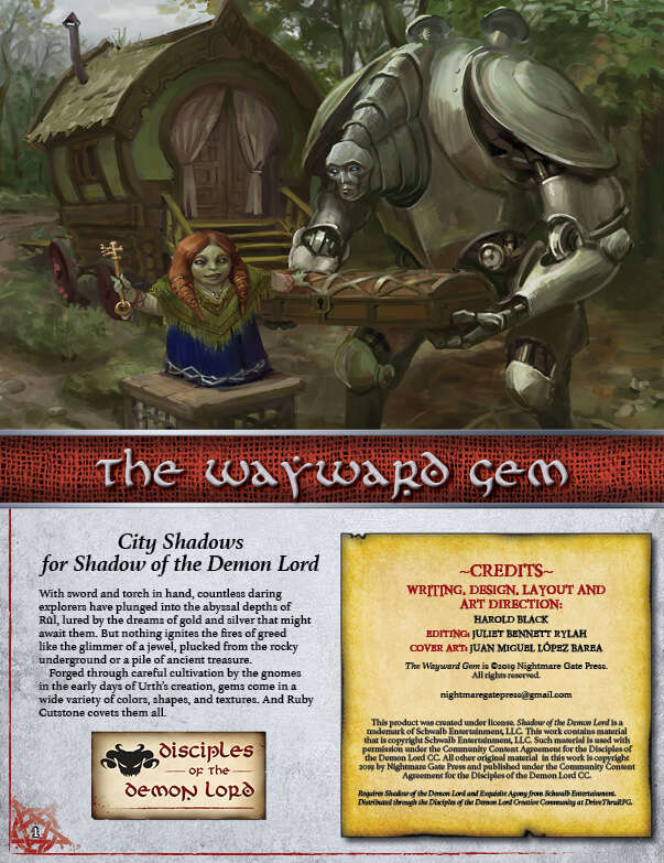 The Wayward Gem - Schwalb Entertainment | Disciples of the Demon Lord |  DriveThruRPG com