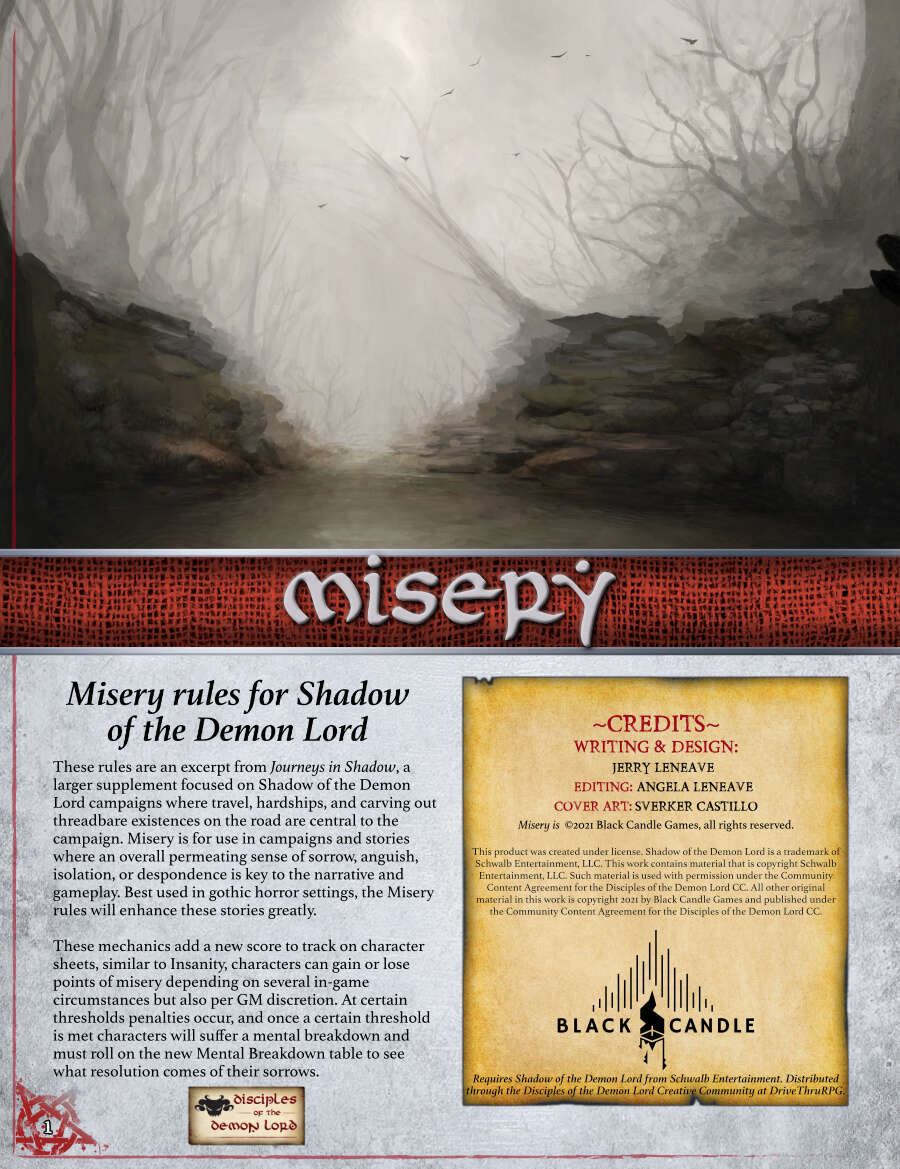 Misery Rules for Shadow of the Demon Lord
