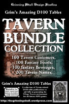 Grim's Amazing D100 tables Tavern Bundle Collection [BUNDLE]