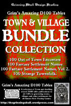 Grim's Amazing D100 Tables Town Bundle Collection [BUNDLE]