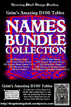 Grim's Amazing D100 Tables Names Bundle Collection [BUNDLE]