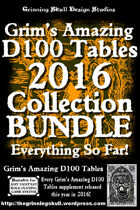 Grim's Amazing D100 Tables Complete 2016 Collection [BUNDLE]