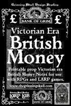 LARP LAB: The Bank of Grim: Victorian Era British Money, printable props