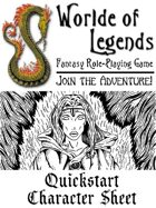 Worlde of Legends™ Quickstart Adventurer Sheet 2016