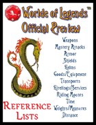 Worlde of Legends™ GamePlay Preview - Reference Lists