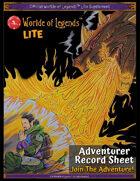 Worlde of Legends™ LITE Adventurer Record Sheet