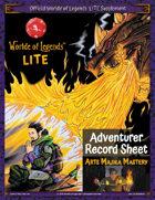 Worlde of Legends™ LITE Fillable PDF Adventurer Sheet: Arts Majika