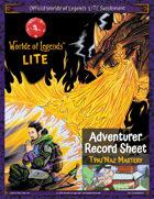 Worlde of Legends™ LITE Fillable PDF Adventurer Sheet: Týnj'Naz Mastery
