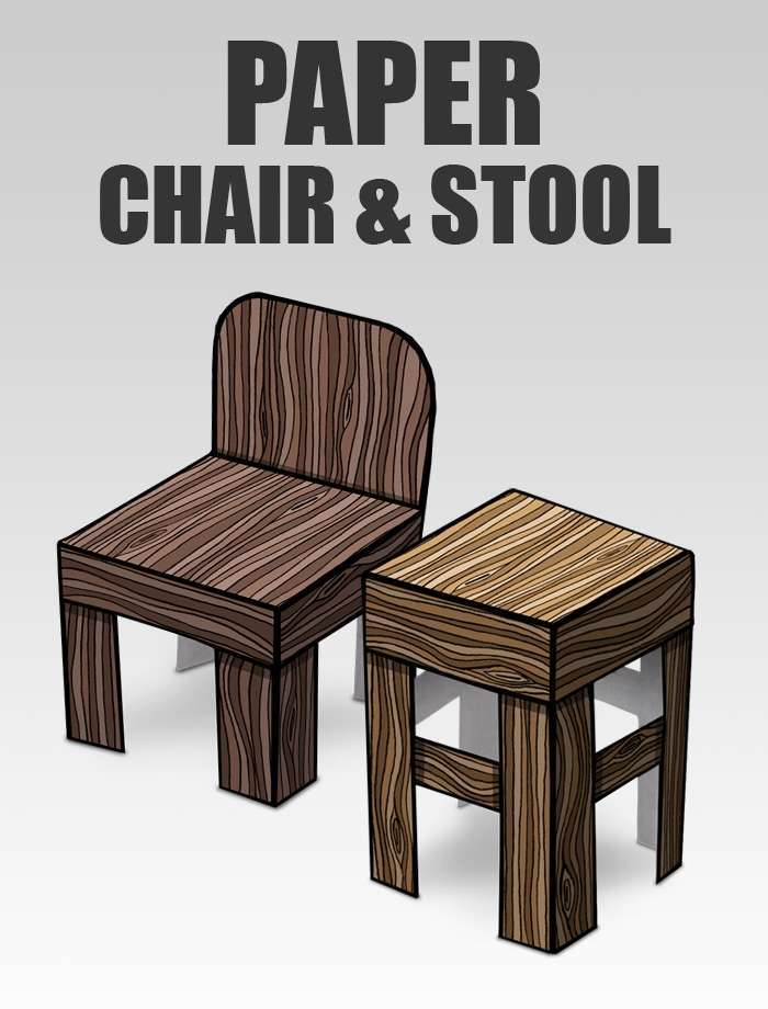 3D Paper Chair and Stool | Papercraft objects and paper miniatures