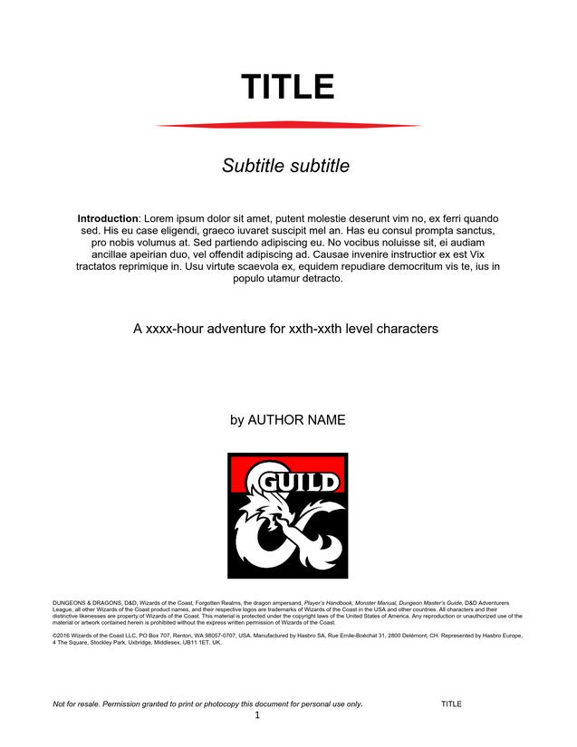 DMs Guild Creator Resource - Adventure Template - Dungeon Masters ...