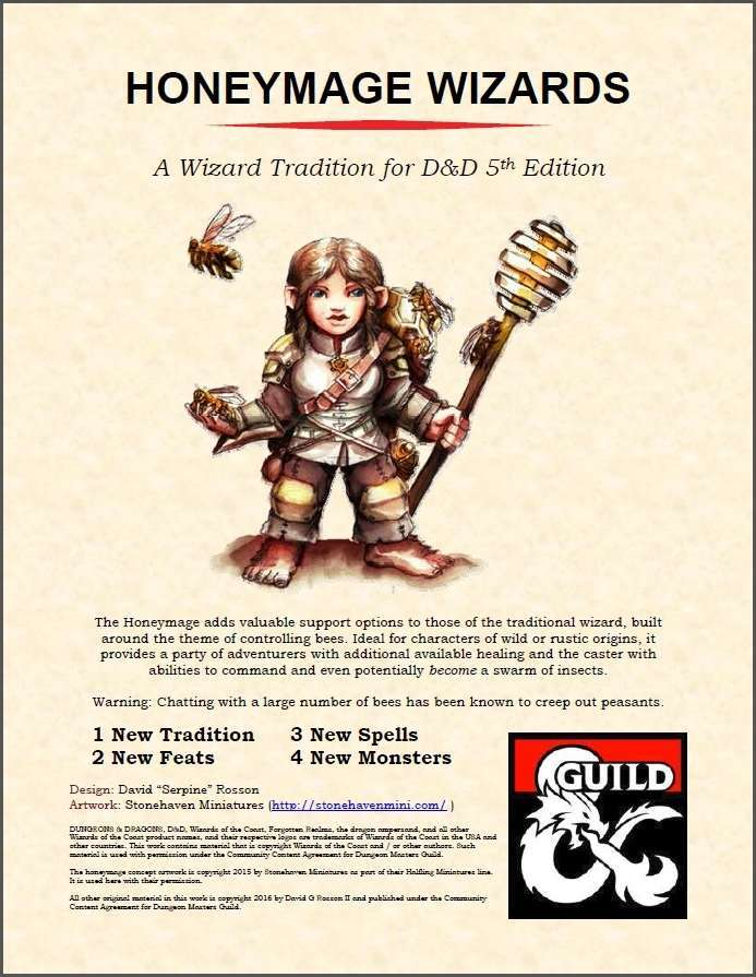 Honeymage Wizard Tradition + Monstrous Bees - Dungeon Masters Guild