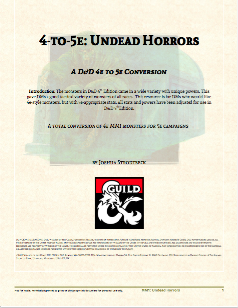 4 To 5e Undead Horrors Dungeon Masters Guild Dungeon Masters
