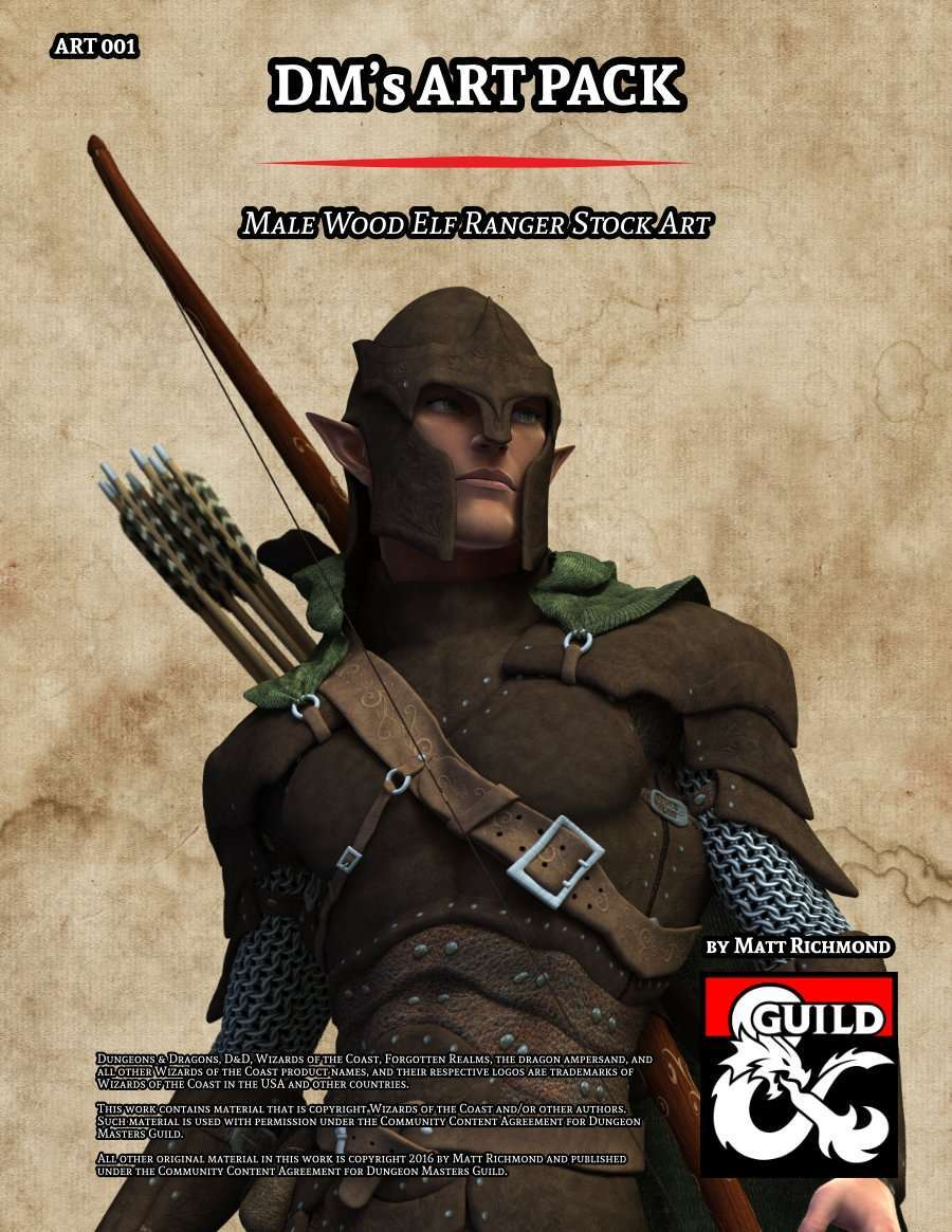 Art001 Male Wood Elf Ranger Stock Art Dungeon Masters Guild