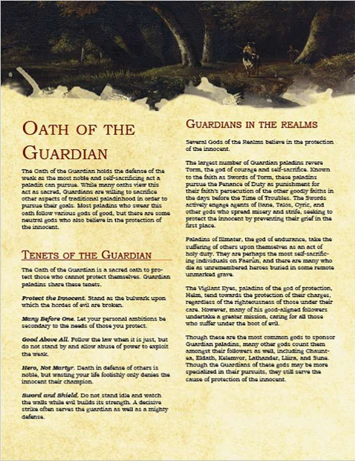 Paladin Archetype: Oath of the Guardian - Dungeon Masters Guild