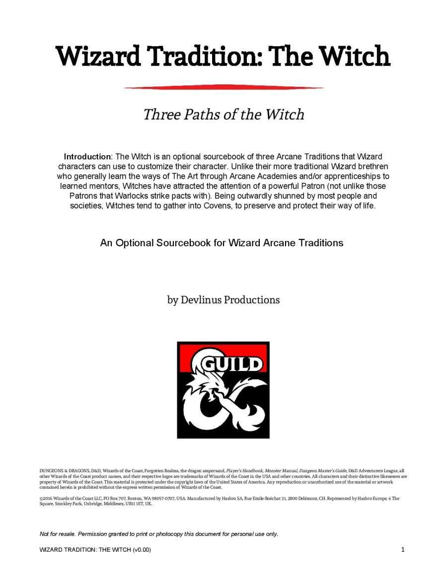 Wizard Tradition: The Witch - Dungeon Masters Guild | Dungeon Masters Guild