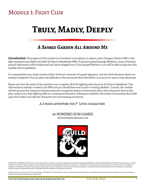 Truly, Madly, Deeply-Module 01 - Dungeon Masters Guild | DriveThruRPG com