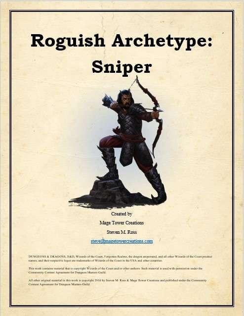 Mtc Roguish Archetype Sniper Dungeon Masters Guild