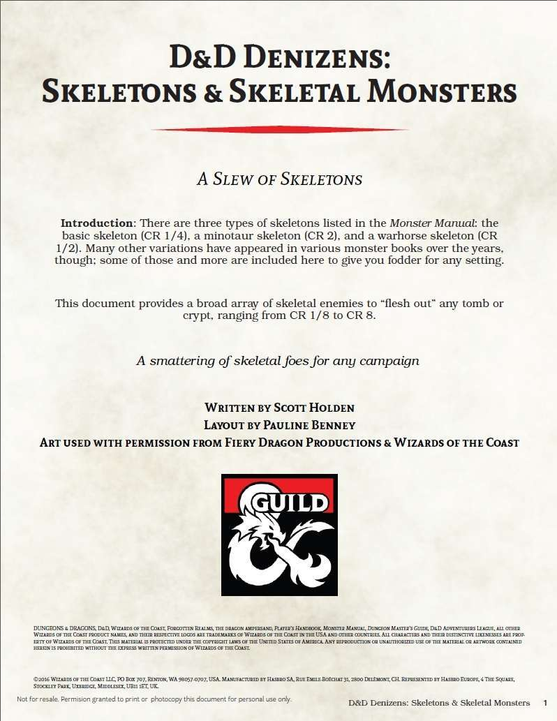D&D Denizens: Skeletons & Skeletal Monsters - Dungeon