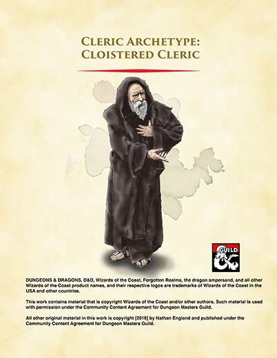 Cloistered Cleric Archetype - Dungeon Masters Guild
