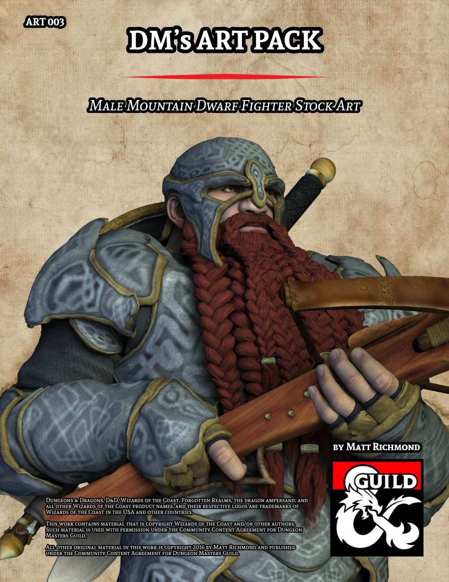 Art003 Male Mountain Dwarf Fighter Stock Art Dungeon Masters Guild
