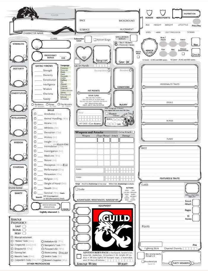Clever image throughout 5e printable character sheet