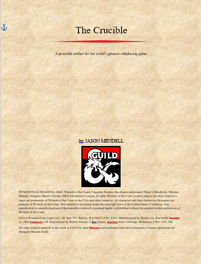 D Amp D 5e Expanded Artifact The Crucible Dungeon Masters