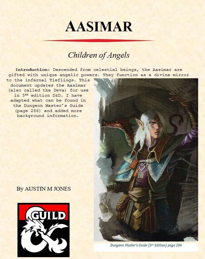 Aasimar Character Race - Dungeon Masters Guild | Dungeon