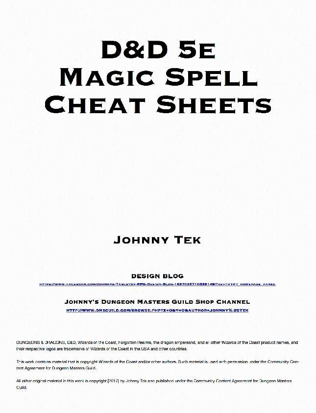 D&D 5e Magic Spell Cheat Sheets - Dungeon Masters Guild | Dungeon Masters  Guild