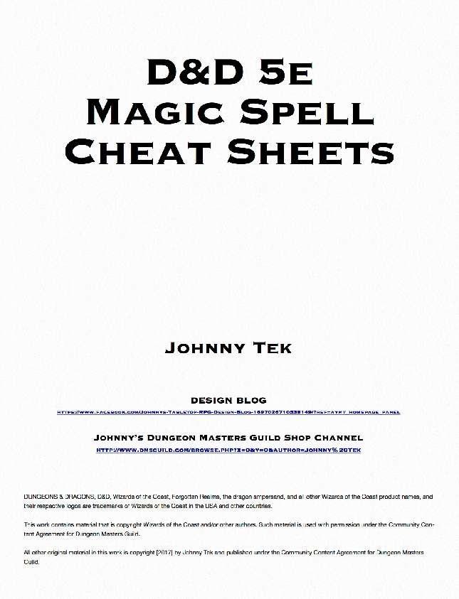 D&D 5e Magic Spell Cheat Sheets - Dungeon Masters Guild | DriveThruRPG com