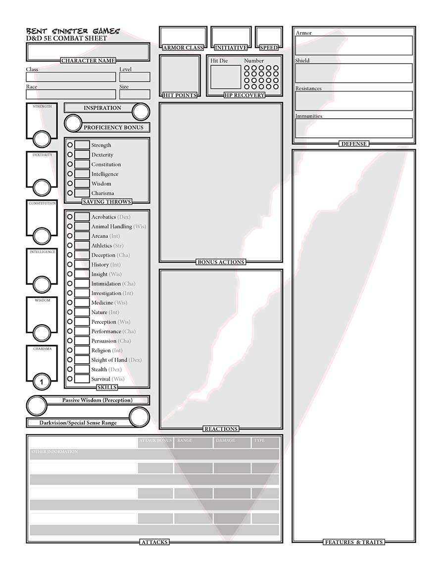 Character Sheet (Fillable Form) - Dungeon Masters Guild