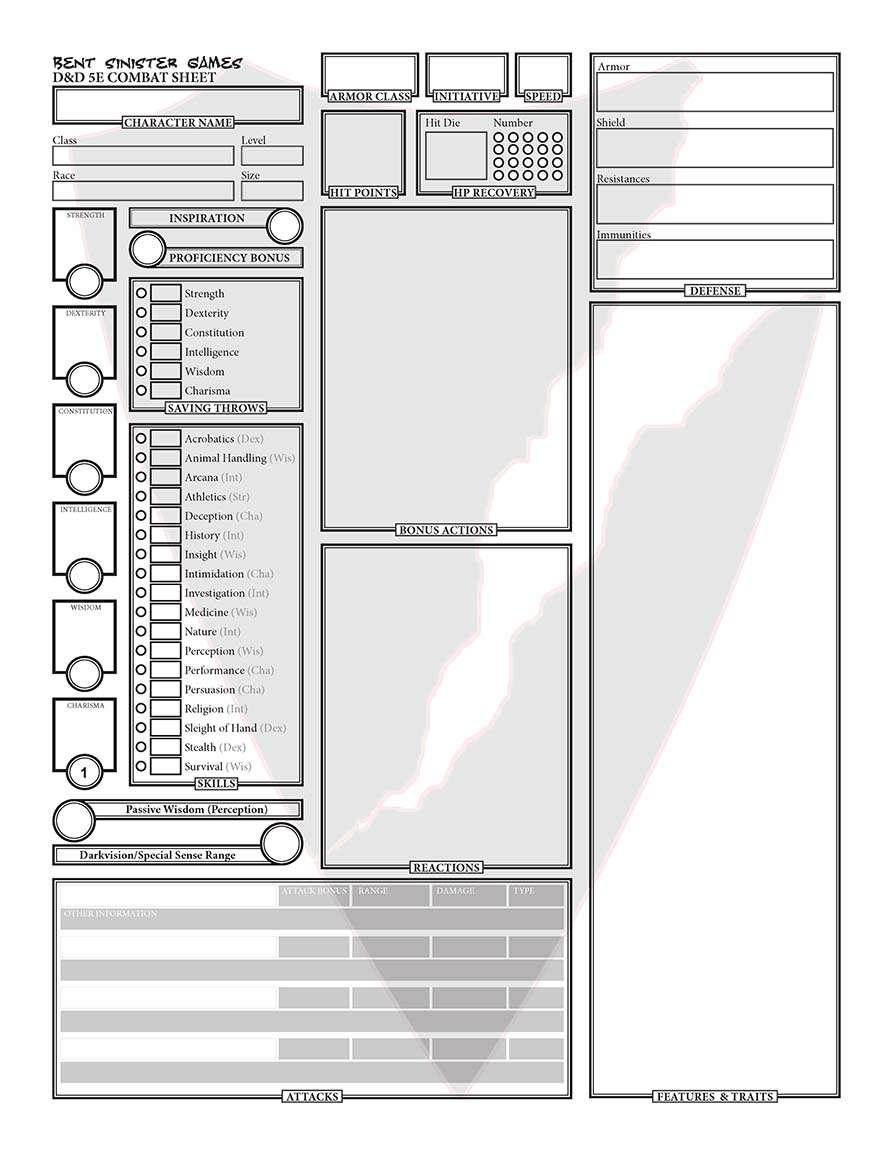 Digital 5E Character Sheet - Digital Photos and Descriptions