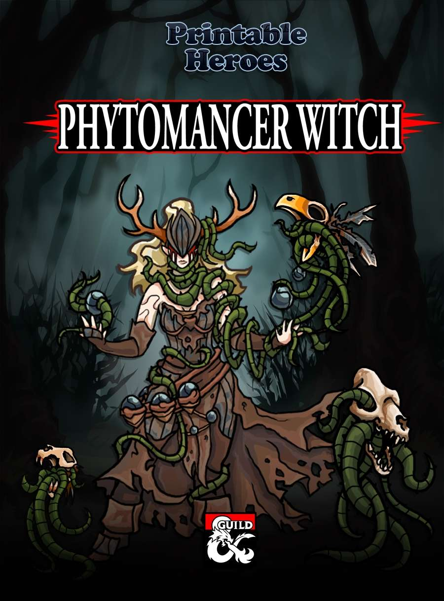 Phytomancer Witch Paper Miniatures - Dungeon Masters Guild | Wargame Vault