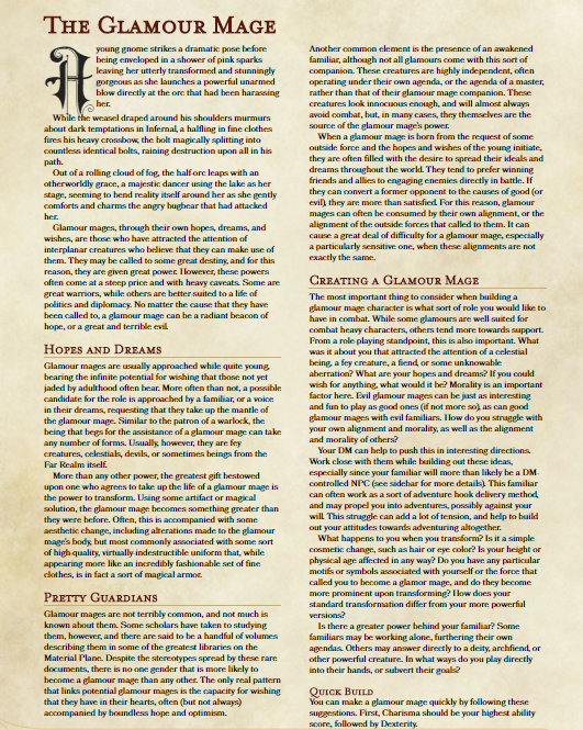 Glamour Mage Class - Dungeon Masters Guild | Dungeon Masters Guild